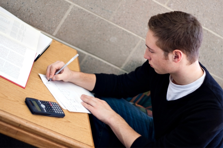 A student working on an assignment