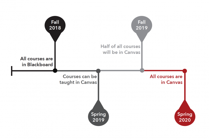 A timeline of the Canvas transition, with all courses moved by Spring 2020