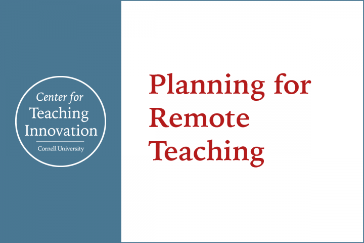 Planning for Remote Teaching